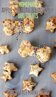 Homemade Apple Cheddar & Bacon Bit Dog Treats                                                                                                                                                                                 More