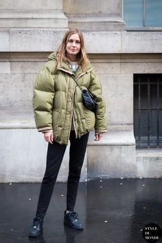 Nadja Bender in a green puffer coat #style #fashion #streetstyle