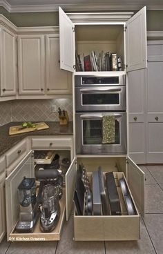 Choosing the best kitchen cupboards might be an eye-opening expertise (and costly). Kitchen cupboards are available all kinds of types, supplies, fini. Diy Kitchen Storage, Diy Kitchen Cabinets, Kitchen Cabinet Organization, Kitchen Cupboards, New Kitchen, Kitchen Decor, Kitchen Appliances, Kitchen Ideas, Organization Ideas