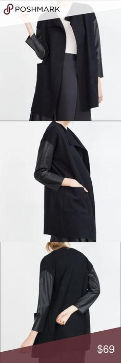 ZARA BLACK KNIT COAT WITH FAUX LEATHER SLEEVES Fabulous jet black.. open front.. black faux leather sleeves. Brand new with tags. Zara Jackets & Coats