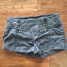"""Sneak Peek Sailor Jean Shorts - Sz M Super cute Sneak Peek sailor jean shorts. Good pre-loved condition. Very stretchy & flattering! Size M. 98% cotton. 2% spandex. Measurements: 14.5"""" across waist, 7.5"""" rise, 2.5"""" inseam. Retail $32. ✳️Also listed on other sites so will sell quickly✳️ ❌Trades❌PayPal❌ Sneak Peek Shorts Jean Shorts"""