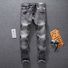 49.99$  Watch here - Italian Style Fashion Mens Jeans High Quality Black Gray Slim Fit Ripped Jeans For Men Pants Brand Classic Denim Biker Jeans Men  #aliexpress