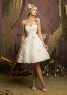 Schöne kurze Brautkleider aus Satin A-Linie mit Kristall 2013