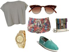 Amusement park outfit - crop top, shorts, and Toms shoes
