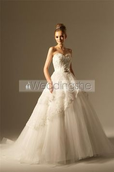 Gorgeous A-line Sweetheart Floor-Length Chapel Embroidery Wedding Dresses
