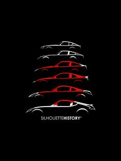 silhouettehistory:  Rising Sun Zee SilhouetteHistory Silhouettes of Datsun/Nissan (Fairlady) Z-cars: 240Z (S30), 280ZX (S130), 300ZX (Z31), 300ZX (Z32), 350Z (Z33) and 370Z (Z34)   Throwback Thursday Home | FB | Instagram | Twitter | Shop