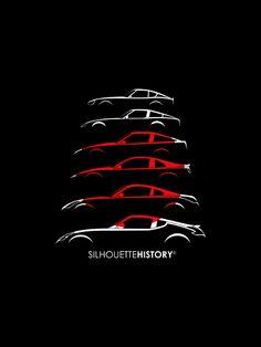 silhouettehistory:  Rising Sun Zee SilhouetteHistory Silhouettes of Datsun/Nissan (Fairlady) Z-cars: 240Z (S30), 280ZX (S130), 300ZX (Z31), 300ZX (Z32), 350Z (Z33) and 370Z (Z34)   Throwback Thursday Home | FB | Instagram | Twitter | Shop