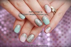 Gelish Pink and Blue Pastel Glitter nails by www.funkyfingersfactory.com
