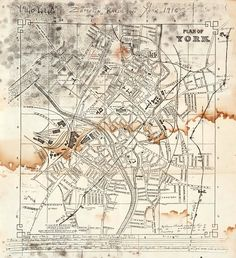 This is a photocopy of a map of York with hand drawn paths made by Zeppelins and areas they bombed during world war one (ZEP). World War One, First World, Local History, Wwi, Libraries, Hand Drawn, Paths, The Neighbourhood, Vintage World Maps