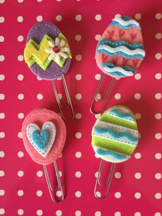 Easter Egg Felt Clips by BookmarkBitches on Etsy