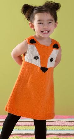 Child's Foxy Tunic in Red Heart Anne Geddes Baby - Discover more Patterns by Red Heart Yarns at LoveCrafts. From knitting & crochet yarn and patterns to embroidery & cross stitch supplies! Animal Knitting Patterns, Baby Sweater Knitting Pattern, Tunic Pattern, Knit Patterns, Free Pattern, Dress Patterns, Crochet Girls, Crochet For Kids, Free Crochet