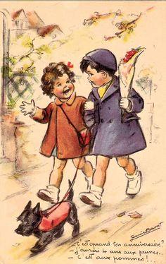 Germaine Bouret (C'est quand ton anniversaire -J'aurai 4 ans aux prunes - C'est aux pommes) Images Vintage, Photo Vintage, Vintage Pictures, Vintage Photographs, Illustration Mignonne, Illustration Art, Vintage Illustrations, Vintage Labels, Vintage Cards