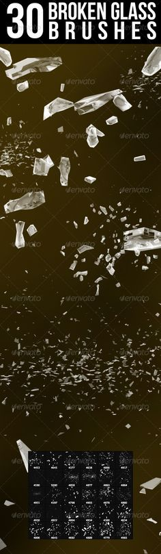 Broken Glass Photoshop Brushes Get it here: http://graphicriver.net/item/30-broken-glass-brushes/8100596/?ref=nada-images