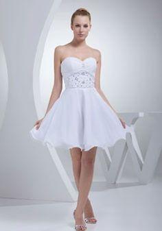 Princesa Gasa Cari?o De Longitud Corto /mini  Espalda Baja Sin Manga Rhinestone Casual Vestido De Boda $216.99 Vestidos de novia cari?o