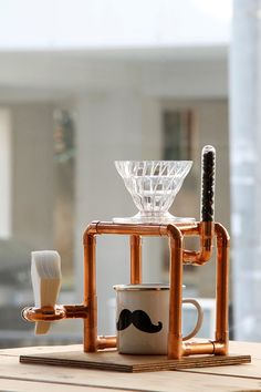 Copper on Wood Coffee Brewing Station by recyclebox on Etsy, $75.00