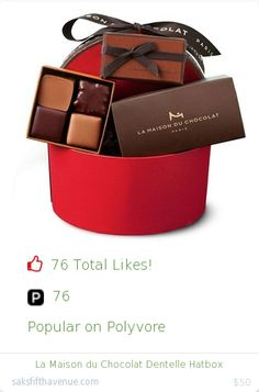 Top christmas gift on Polyvore.  76 people likes on Internet. 76 ployvore saves. la maison du chocolat dentelle hatbox from saksfifthavenue christmas gifts. http://www.MostLikedGifts.com/top-popular-christmas-gifts/saksfifthavenue-christmas-gift-5489bb0fe294f20980678d2f-la-maison-du-chocolat-dentelle-hatbox