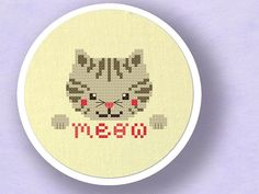 Grey Kitten Goes Meow. Cat Cross Stitch Pattern PDF by andwabisabi