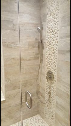 52 Ideas Bath Room Shower Tile Design Pebble Floor For 2019 Stone Bathroom, Small Bathroom, Wood Look Tile Bathroom, Bathroom Inspo, Bathroom Cabinets, Wood Tile Shower, Travertine Shower, Porcelain Wood Tile, Pebble Floor