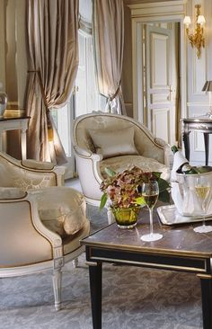 Window Treatments - Deluxe living room in Hotel Le Meurice France