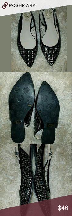 Vince Camuto VP Fallina Pointed Toe Flats Vince Camuto VP Fallina Pointed Toe Strap Perforated Flats Patent Black 8.5 Vince Camuto Shoes Flats & Loafers