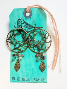 Antiqued Brass Tree Of Life Nature Inspired Leaf & Feather Statement Earrings with Rose Quartz, Apatite, Tourmaline and Garnet TAKE FLIGHT by TakeFlightStudioWA on Etsy