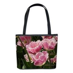 Microfiber Bucket Bag - Design by Monica C. Stovall - Pink Fringe Tulips - Shades of Pink Flowers No. P61