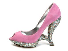 Shoe-Icons / Shoes / Light violet suede open-toe pumps with a fancy heels on the form of two connecting horns covered with multi-color rh