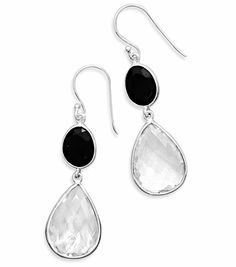 She will love these classic earrings!! Elegant Black Onyx and Clear Quartz Drop Sterling Silver Earrings Non-Allergenic $58.97