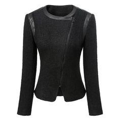Stylish Round Neck Long Sleeve Zippered Spliced Slimming Woolen Women's Jacket