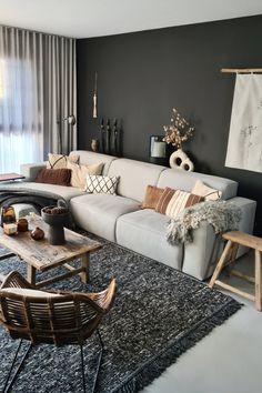 Grey Couches, Gray Sofa, Black Sofa, Black Walls, Grey Sofa Design, Living Spaces, Living Room, Grey Flooring, Lounge