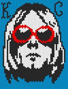 Kurt D Cobain Nirvana Pannel bead pattern Kandi Patterns, Perler Patterns, Peyote Patterns, Beading Patterns, Quilt Patterns, Cross Stitch Art, Cross Stitch Designs, Cross Stitching, Cross Stitch Embroidery