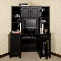 Auston Corner Desk & Hutch Set Black Set Of Two
