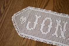 Crochet Name Doily Filet Crocheted Name by BeesHandmadeGifts