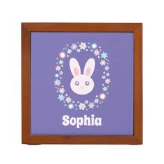 Colorful Flowers Cute Bunny Rabbit Lavender Blue Desk Organizer - girly gift gifts ideas cyo diy special unique