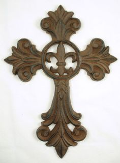 Cast Iron Fleur De Lis Wall Cross Rustic Tuscan Brown Decor