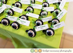 Bicycle Wedding:  Bike bells as wedding favor / escort card