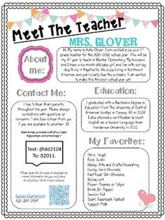 Allow parents and students the opportunity to get to know their teacher better by giving them this Editable Meet The Teacher Night Handout at Open House, or send home on the first day of school with your welcome packet.