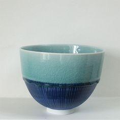 **Derek Wilson large dark celadon bowl with blue etched slip**