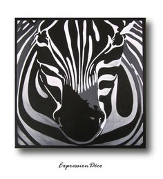 Tableau Le Zebre noir et blanc sur toile 50 x 50 cm Illustration Art, Illustrations, Pacific Northwest, Decoration, Coloring Books, Images, Etsy, Vintage, Portrait
