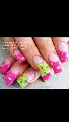 Pink and lime green poka dots