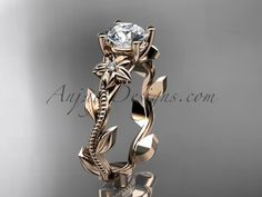 """Unique 14kt rose gold diamond flower, leaf and vine wedding ring,engagement ring with a """"Forever Brilliant"""" Moissanite center stone ADLR223"""