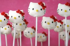 Bakerella has the cutest Hello Kitty Cake Pops!  Made them for my bday.  FYI: Use an edible food decorating pen to draw in the face. I used food gel mixed with cream of tarter and it still smeared :-(  Worth it to spend the extra bucks!