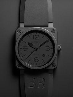 rhubarbes:  BR 03-92 PHANTOM Automatic 42mm Black rubber & black canvas straps. (via Bell & Ross)