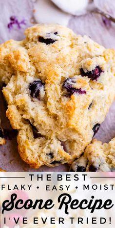 Best Scone Recipe, Recipe For Scones, Best Ever Scone Recipe, Perfect Scones Recipe, Blueberry Scones Recipe, Blueberry Dessert Easy, Blueberry Recipes Easy, Cookie Recipes, Desert Recipes