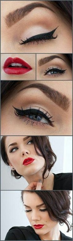 I love this vintage make-up look, probably my fave! Makeup Tips and Tutorials! Vintage Triple Winged Eyeliner and make-up Pretty Makeup, Love Makeup, Makeup Tips, Makeup Looks, Hair Makeup, Makeup Ideas, Makeup Tutorials, Gorgeous Makeup, Makeup Style