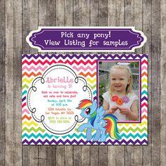 Custom, Personalized My Little Pony Rainbow Chevron Birthday Invitation (Rainbow Dash, Pinkie Pie, or any pony!) on Etsy, $9.99