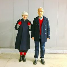 Japanese couple married for 37 years wear matching outfits every day Fashion Couple, Love Fashion, Fashion Outfits, Fashion Styles, Rock Outfits, Edgy Outfits, Punk Fashion, Matching Couple Outfits, Matching Couples