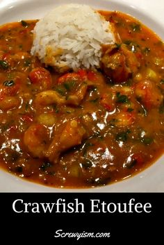 A rich flavorful stew with bell peppers, onions, celery and sweet crawfish tails as spicy as you like it. Louisiana Recipes, Cajun Recipes, Seafood Recipes, Gourmet Recipes, Cooking Recipes, Healthy Recipes, What Is For Dinner, Crawfish Etouffee, Creole Cooking