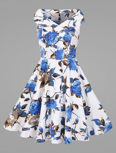 Plus Size Flower Vintage Swing Dress In Blue,3xl | Twinkledeals.com