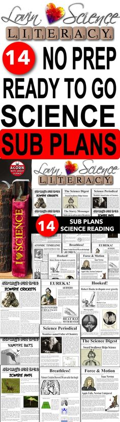 Now increased to 14 unique secondary science sub plans. This is a great way to align literacy and science. Each plan has a 2 page newspaper with accompanying worksheets.
